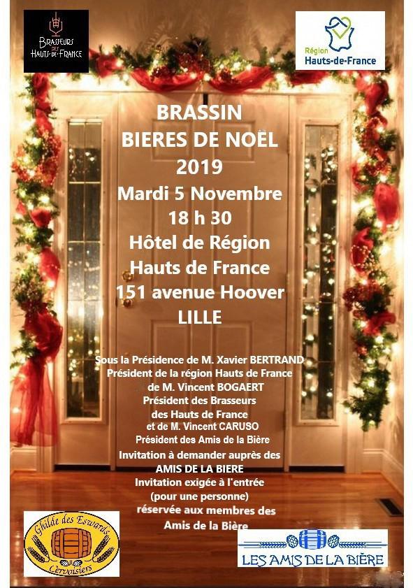 Lancement officiel de la Bière de Noël à Lille le mardi 5 novembre au siège de la Région Hauts de France à Lille. Exclusivement réservé aux adhérents de l'Association (nombre de places limitées). Invitations envoyés aux membres sur demande (N° d'adhérent) dans la limite des places disponibles